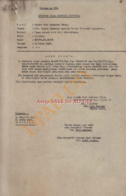 Surat Kepala Staf Angkatan Udara No.343/04.06.05/56 kepada Kepala Jawatan Agraria DIY tanggal 15 Juni 1956 tentang tanah Daerah A.II tidak dapat dikembalikan kepada pemilik asal oleh AURI