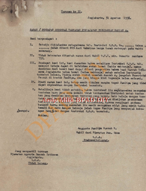 Prakosodiningrat /anggota panitia Daerah B wakil dari Jawatan Pemerintahan Umum tanggal 31 Agustus 1956 tentang pendapat/saran mengenai tambahan pembayaran kekurangan Daerah A.