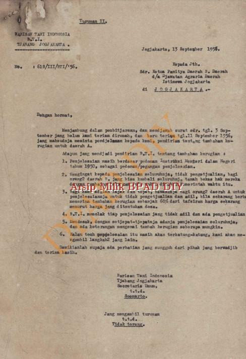 Surat dari Barisan Tani Indonesia No.618/III/BT/56 tanggal 13 September 1956 tentang penjelasan dalam tambahan kerugian untuk tanah Daerah A kepada Ketua panitia Daerah B.