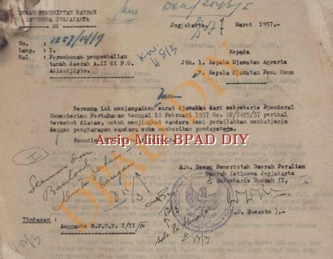 Surat dari Pemerintah DIY No.1257/14/7 tanggal 7 Maret 1957 tentang permohonan pengembalian tanah daerah A II di PU Adisucipto kepada Keapala Jawatan Agraria,dan kepala Jawatan Pemerintah Umum.