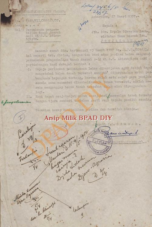 Surat dari Pemerintah Kabupaten Sleman kepada Kepala Jawatan Pemerintahan Umum DIY.No.1459/VII/3889/P/57 tanggal 27 Maret 1957 tentang pengembalian tanah Daerah A II di PU Adi Sucipto