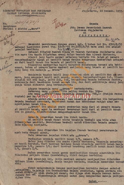 """Surat dari Jawatan Pertanian dan Perikanan DIY No.3011/270/1 tanggal 1-0 Desember 1955 tentang permohonan untuk diadakan peraturan-peraturan dalam soal """"maro""""tanah."""