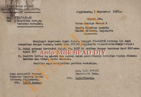 Dewan Pemerintah Petani DIY No.16/IV/0-56 tanggal 1 September 1957 tentang persetujuan pemberian tambahan kerugian kepada panitia Daerah B kepala Jawatan Agraria DIY.