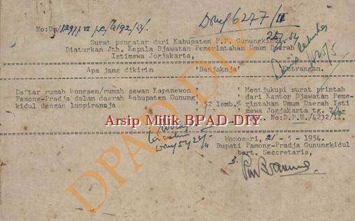 Surat Bupati P.P Gunung Kidul No.Um/1297/VI/C/6192/SU tanggal 21 Mei 1954,tentang pengiriman daftar rumah kongsen/Rumah Sewaan Kapanewon P.P Gunung Kidul di Lingkungan Gunung Kidul.