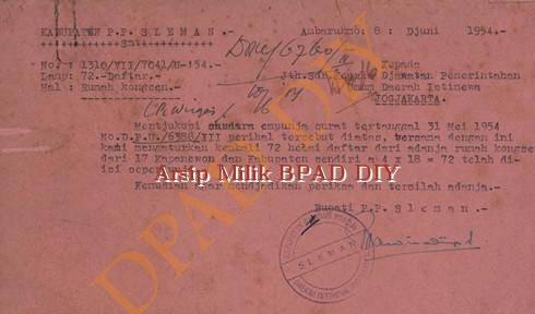 Surat Bupati P.P Sleman No.1310/VII/7041/U 54, tanggal 8 Juni 1954,tentang pengiriman daftar rumah kongsen/Rumah Sewaan di Lingkungan Sleman.