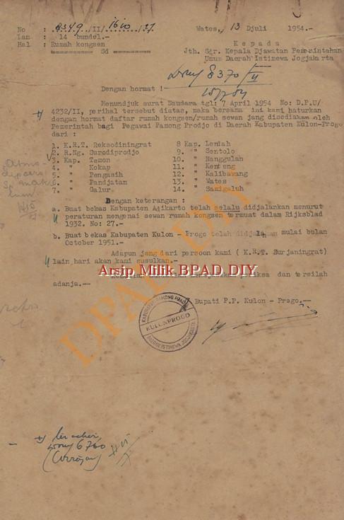 Surat Bupati P.P Kulon Progo No.8349/11/1610/17 tanggal 13 Juli 1954,tentang pengiriman daftar rumah kongsen/Rumah Sewaan untuk pegawai P.P di Lingkungan Kulon Progo.