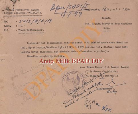 Surat dewan Pemerintah DIY No.5313/III/E/59 tanggal 16 Juli 1959 kepada kepala Jawatan Pemerintah Umum tentang Pengurusan Tanah Wedi kengser atas nama saudara Sastrataruno.