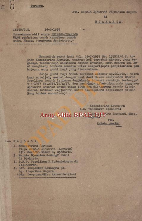 Surat Kementrian keuangan No.16758/G.t,tanggal 26 Pebruari 1958 kepada Kepala Jawatan pegadilan Negri tentang permohonan ahli waris pringgowihardjo atas uang pembelian tanah keperluan rumah gadai negeri prambanan Yogyakarta.