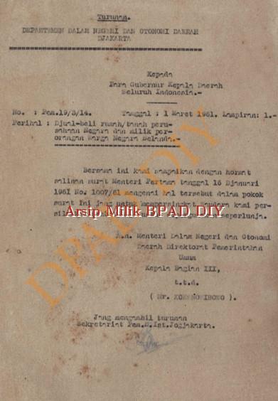 Surat Depertemen luar Negri dan Otonomi Daerah kepada Gubernur Kepala Daerah seluruh Indonesia.No.pem.19/3/14 tanggal 1 Maret 1961 tentang jual beli rumah /tanah perusahaan Negara dan Milik perorangan warga negara Belanda