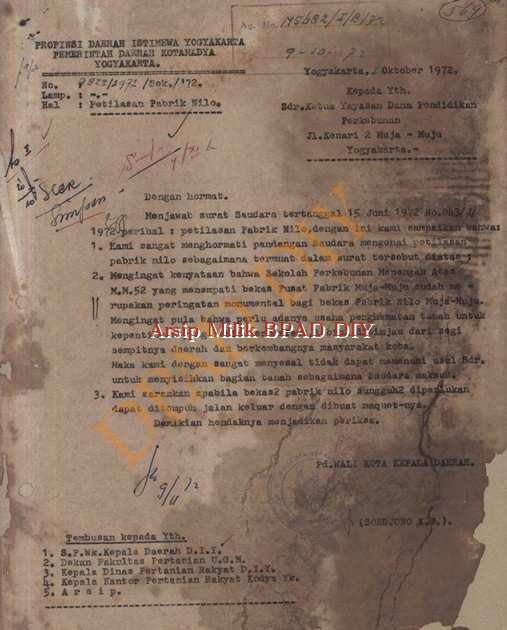 Pemerintah Daerah DIY No.9823/2972/sek/1972, tanggal 7 Oktober 1972 tentang penggunaan tanah Petilosan Pabrik Nilo Kepada Ketua Yayasan Dana Pendidikan Perkebunan.