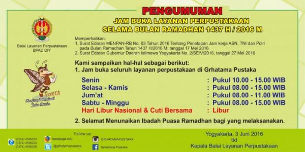 Jam Layanan Perpustakaan Selama Bulan Ramadhan