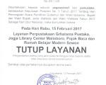 PENGUMUMAN TUTUP LAYANAN PERPUSTAKAAN LIBUR NASIONAL PILKADA SERENTAK 2017