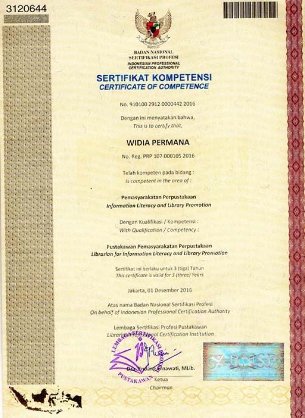 Certification of Competence for Indonesian Librarians